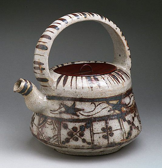 'Ewer with Floral and Striped Design' Edo period (1615–1868), Japan, Stoneware with underglaze iron brown (Mino ware, Shino-Oribe type).