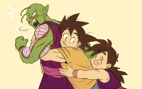 Piccolo, Goku, and Gohan