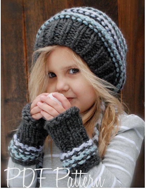 Knitting PATTERNThe Jersey Cap/Mitt Set Toddler by Thevelvetacorn, $5.50