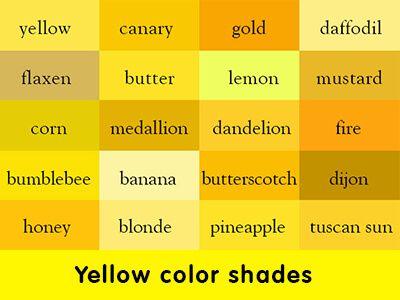 Yellow colour shades