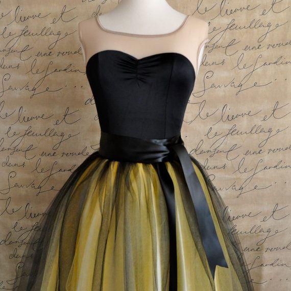 Black and yellow  tutu skirt for women.  Ballet glamour. Retro look tulle skirt. via Etsy