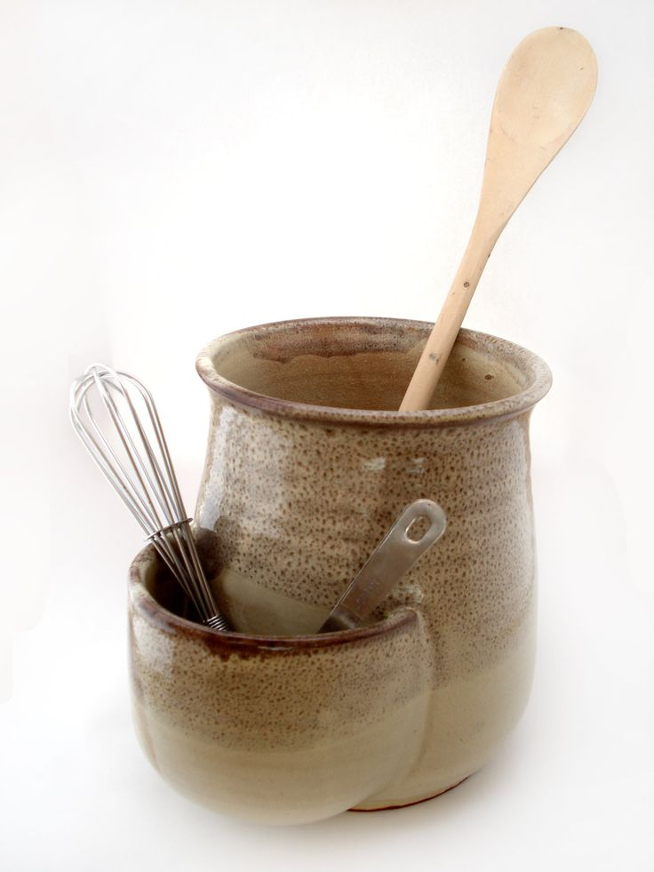 Utensil Holder With Pocket, Tan Utensil Crock, Pottery Spatula Holder