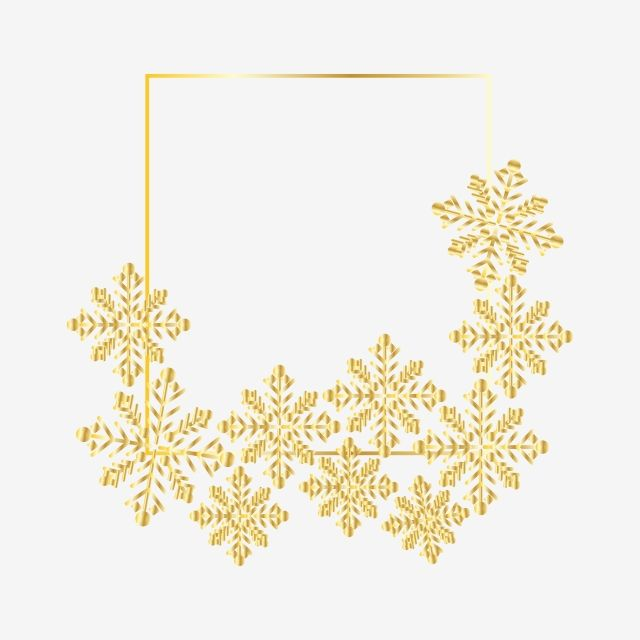 Square Gold Frame Clipart Png Vector Element Drawing Design Snowflake Png And Vector With Transparent Background For Free Download Frame Clipart Gold Frame Clip Art