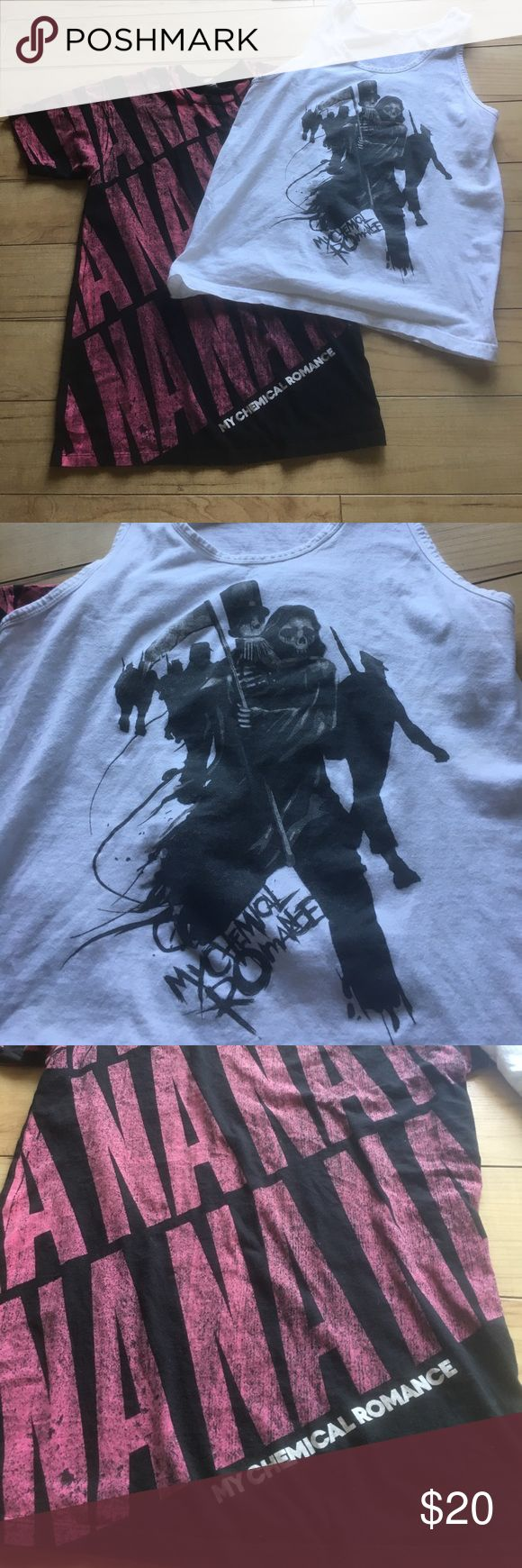 """Bundle of 2 """"My Chemical Romance"""" shirts!! Two for the price of one! Two My Chemical Romance shirts. One t-shirt, one tank top, both size medium. Tops Tees - Short Sleeve"""