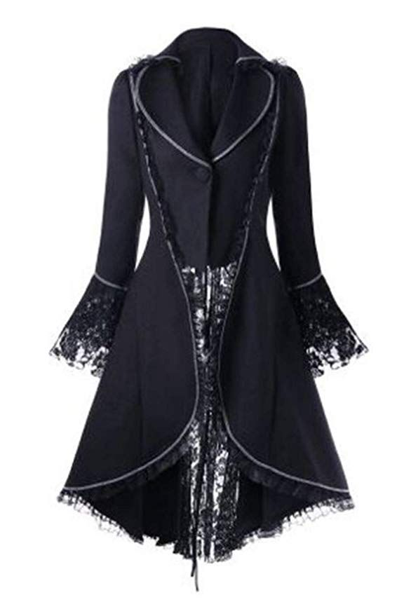 Gothic Jacke Damenfrack mit Spitze victorian tailcoat von Punk Rave