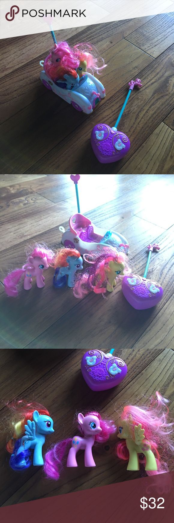 My little Pony car & 3 ponies Battery operated my little pony car. The car batteries but the remote's still has batteries. Also comes with the 3 small my little Ponies as shown. Such a fun car! My Little Pony Accessories