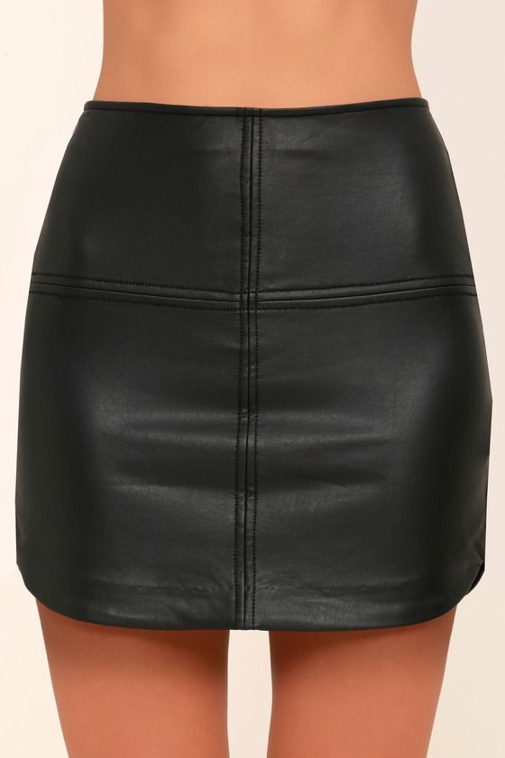 7ab97a9c2a37 Maze Black Vegan Leather Mini Skirt   Just Above The Knee   Leather ...