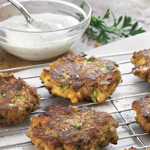 Tuna Cornbread Cakes   (I substituted hummus for the mayo. Reminded me of a crab cake - so good!)