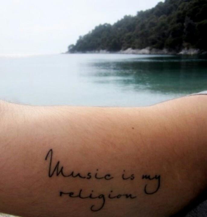 EDM World Magazine Tattoo Pick- Music Is My Religion - Check out www.edmworldmagaz... to see the latest issue! #edmlife #tattoo #musicismyreligion