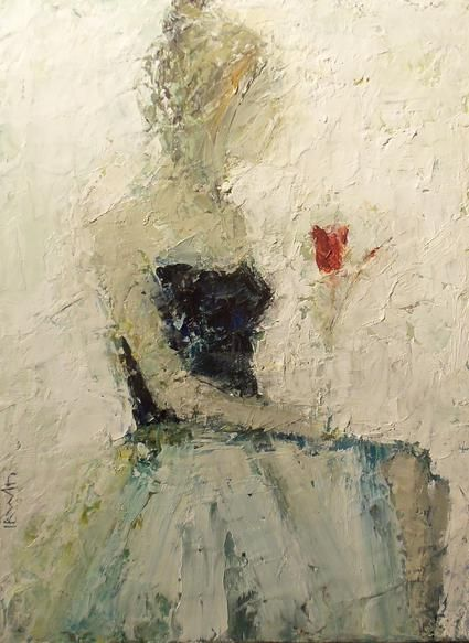 """Holly Irwin- The Perfect Rose 16x12"""" Oil on canvas"""