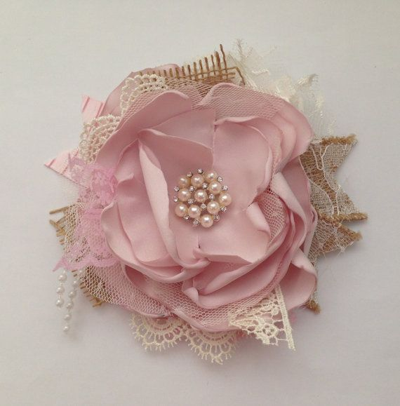 Blush pink couture clip burlap and lace bow от ChloeRoseCouture