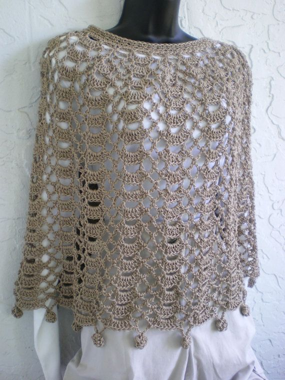 Hand Crochet Capelet Poncho Shawl cotton Beige by annmag on Etsy