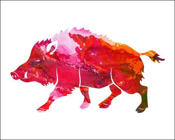WILD HOG  Watercolor Painting Archival Art by ImageDeSignStudio
