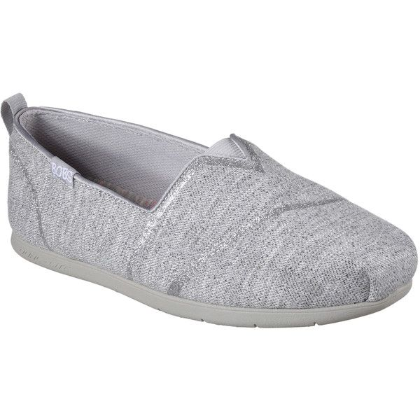 Skechers Women's Bobs Plush Lite - Winter Skies Gray - Skechers ($45) ❤ liked on Polyvore featuring shoes, grey, skechers, grey slip on shoes, skechers footwear, flat slip on shoes and polish shoes