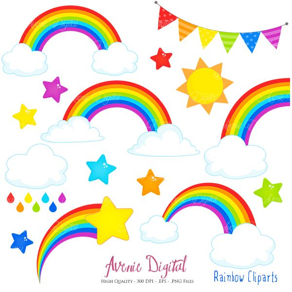 Rainbows Clipart Scrapbook printables, Vector Rainbow and ...