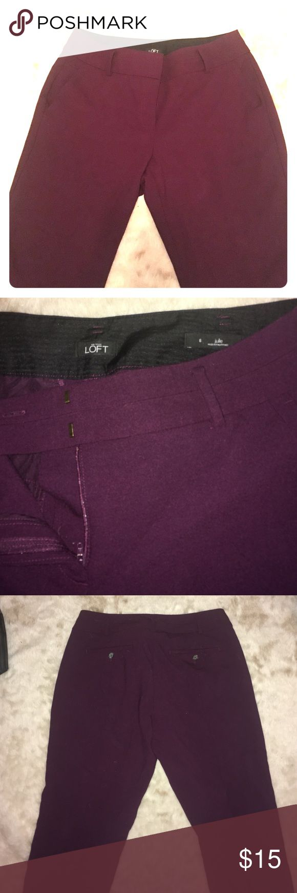 Ann Taylor Loft Julie Plum pants size 6 Plum colored 44% wool dress pants. These pants say size 6 but fit around the waist size 8. The bottom is short ankle pant style. The name of the fit is Julie by Ann Taylor loft. I've worn twice too big around the stomach and too short for ankle pants on me. Will provide measurements if needed. LOFT Pants Trousers