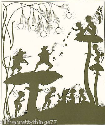 FAIRY Frog Elves FIREFLY on Mushroom TOADSTOOL Music Vintage 1929 MATTED Picture