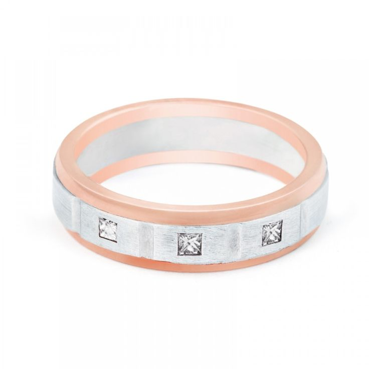 9ct Rose And White Gold Mens Diamond Band