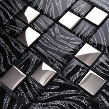 11 sq.ft per lot metallic glass silver black zebra mosaic tile backsplash kitchen home decor fireplace bathroom mirror wall tile(China (Mainland))