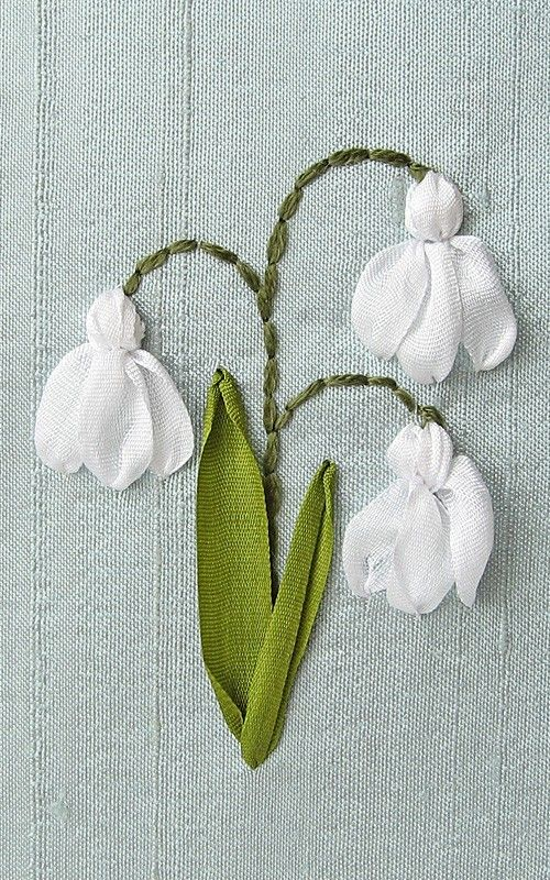 Snowdrops Card. Silk Ribbon Embroidery by bstudio on Etsy