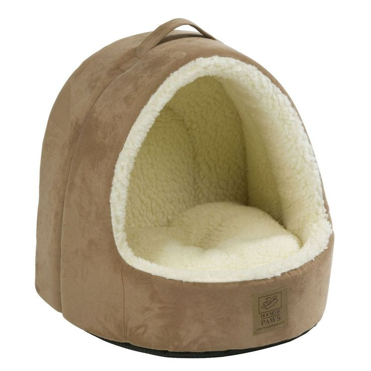 Faux Suede Cat Bed Hooded Brown Fabric Polyester Dogs Kittens Puppies Pets Cave