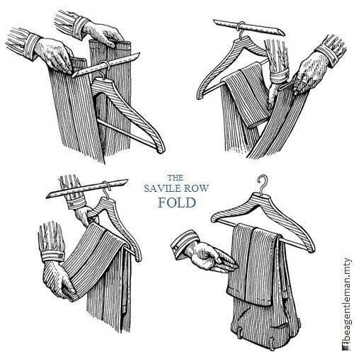 Método Savile Row para doblar correctamente el pantalón en el gancho.