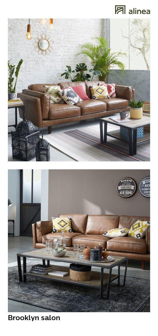 Alinea Brooklyn Living Room Sofa 3 Seater Fixed Brown Cowhide Leather Sofa Living Room Sofa Leather Sofa Sofa
