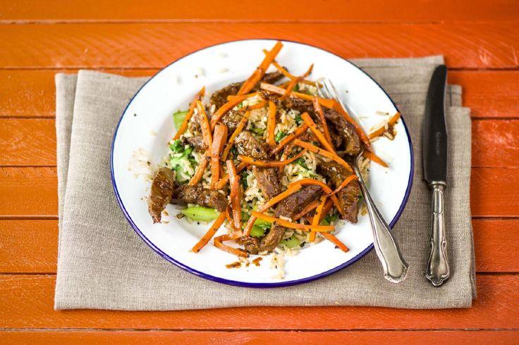 Teriyaki Beef with Bok Choy, Carrots & Black Sesame Rice
