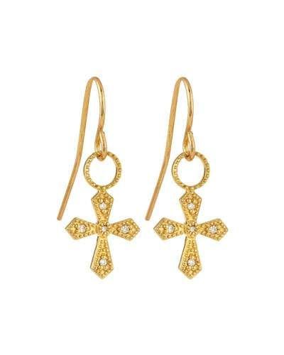 18K Diamond Cross Earring Charms