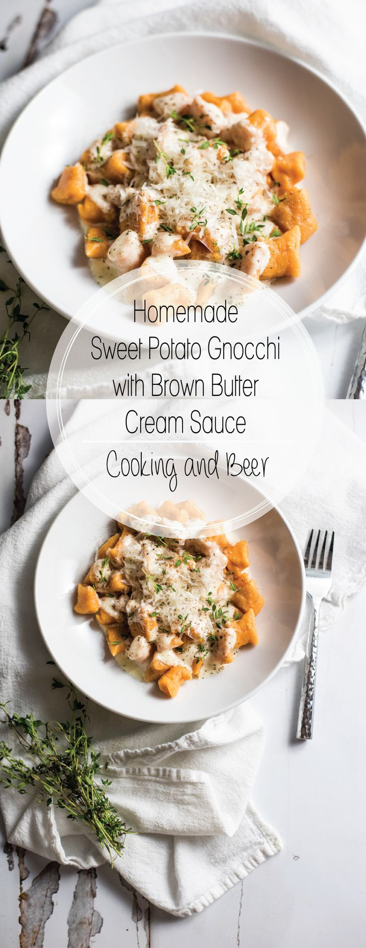 Homemade sweet potato gnocchi in brown butter cream sauce is much simpler to make than you think! It is super delicious and loaded with flavor and texture!