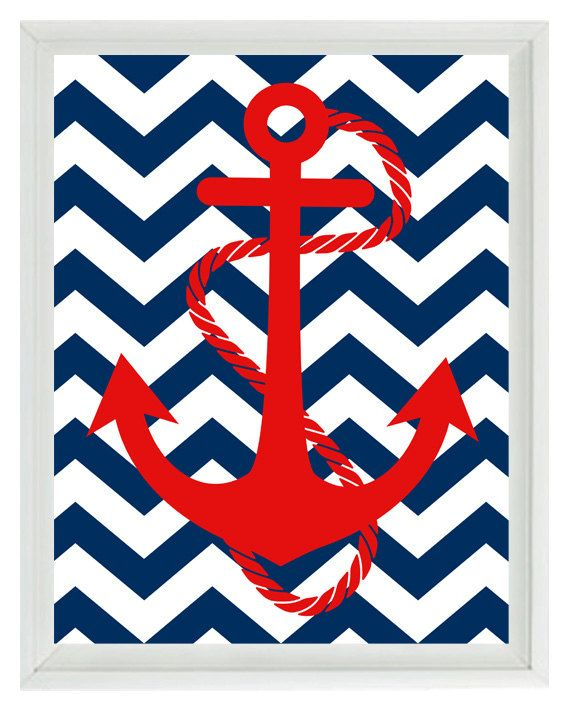 Anchor Art Print - Red Navy Blue Chevron Nautical Nursery Chlidren Baby Boy Room…