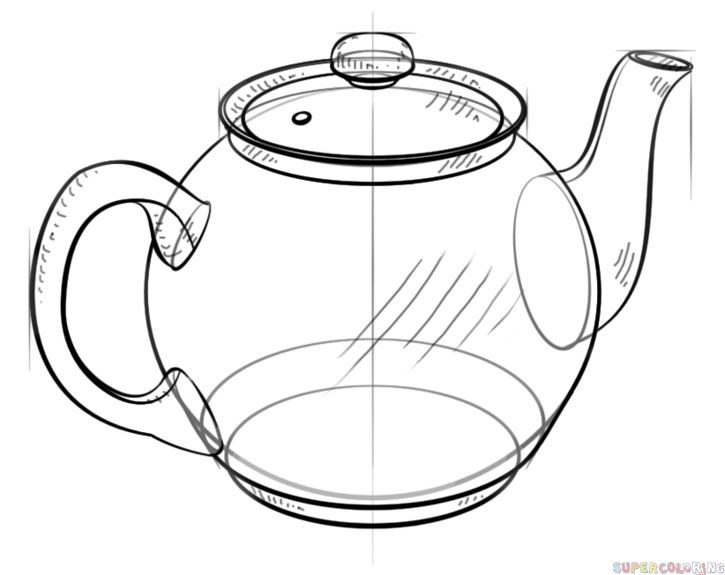 How to draw a teapot step by step. Drawing tutorials for kids and beginners.