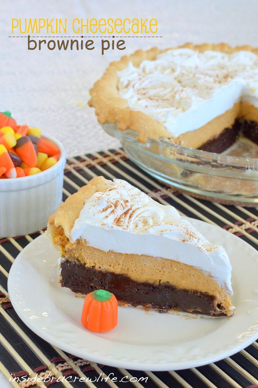 Pumpkin Cheesecake Brownie Pie - 3 layers of fall goodness in one pie