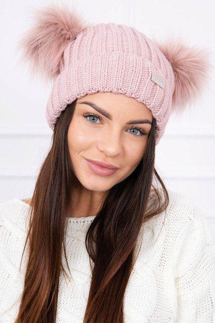 4a22ec0af Dámska pletená čiapka s dvomi brmbolcami. Veľkosť univerzálna. Farba  ružová. Krásny dizajn,