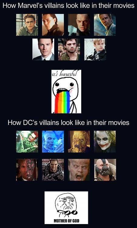 Marvel vs DC's villains in their movies. Marvel, definitely Marvel :)