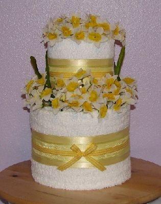 Towel Wedding Cake Centerpiece | Custom Towel Cakes/GIFT BASKETS/towel cake table centerpiece