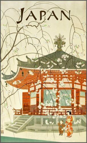 Japanese Travel Bureau 1950's http://stores.ebay.com/Vintage-Poster-Prints-and-more