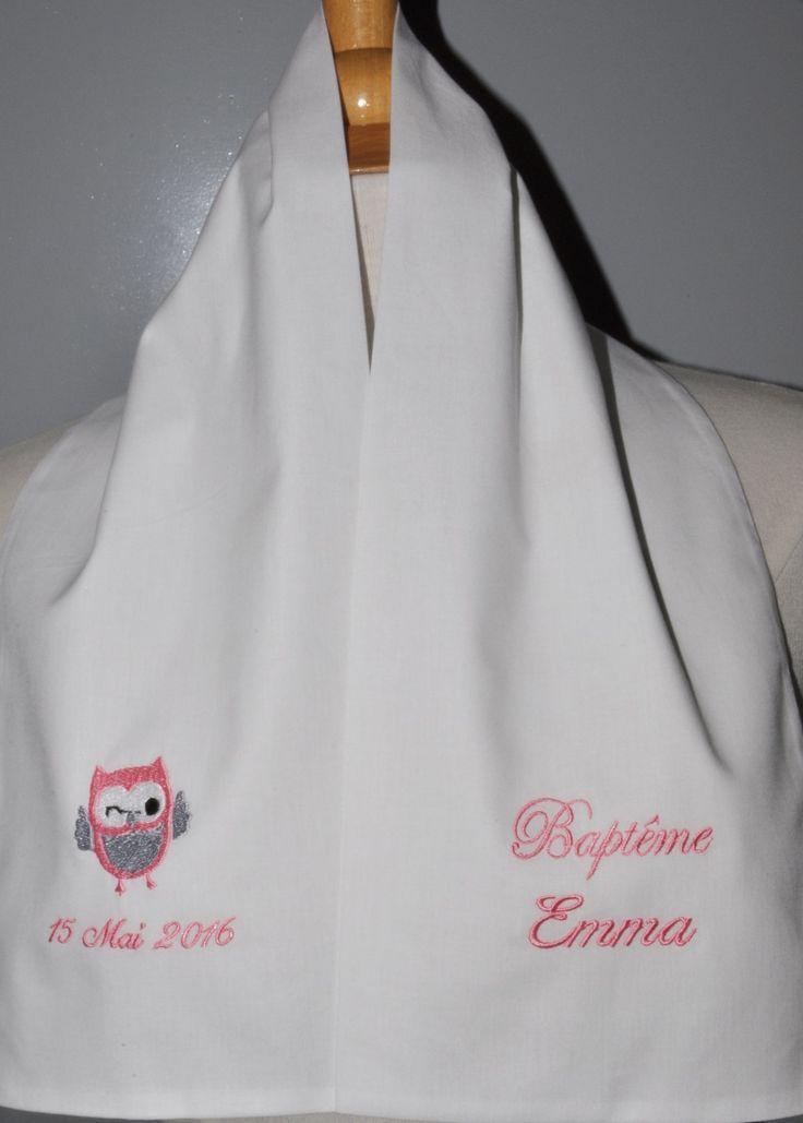 écharpe étole de baptême bébé/enfant chouette personnalisée brodée rose pour garçon ou fille baptême : Mode Bébé par lbm-creation