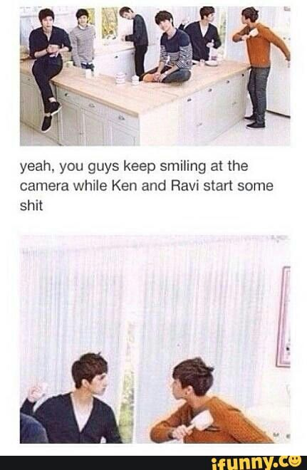 Pffft, more like Ken started it and Ravi lost it bahahahaha.... I love this group so much ❤️ My bias and bias wrecker *fangirl sigh* #VIXX #Ravi #Ken