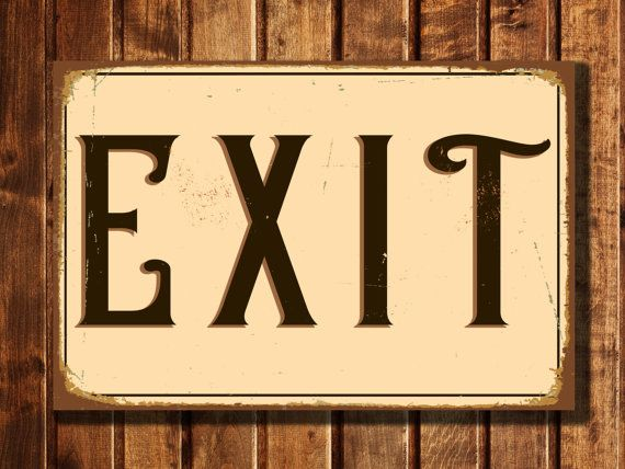 Exit Sign Vintage style Aluminum Composite by ClassicMetalSigns