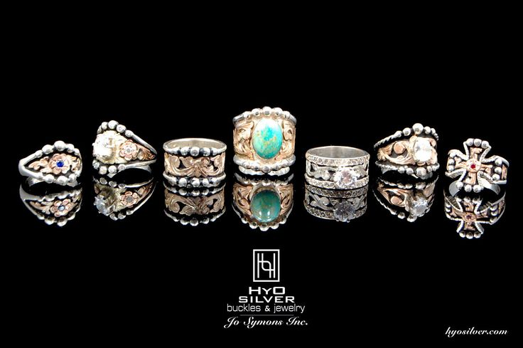 Featured Rings from Left to Right by style number: R016 ($175), R027A($300), R007($200), RRR005($450), R006AS($300), R028A($250), R010($175) www.hyosilver.com