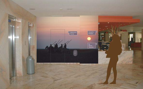 Señalización del Gran Hotel El Coto, Doñana, Huelva. Diseño Arcadi Moradell / SignalDesign. Señales direccionales interiores.