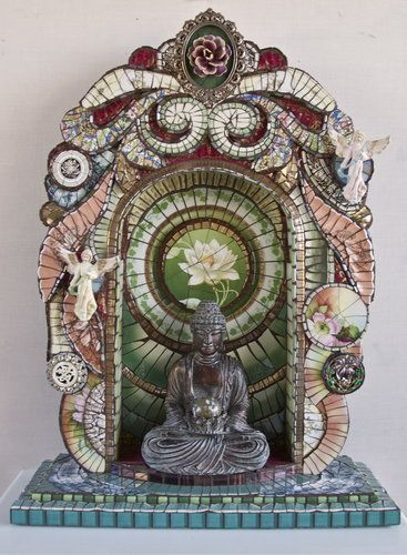 """""""Buddha Shrine"""" made by mosaic artist Susan Wechsler, who uses broken china and found objects in her work. She is featured on www.ArtsyShark.com"""