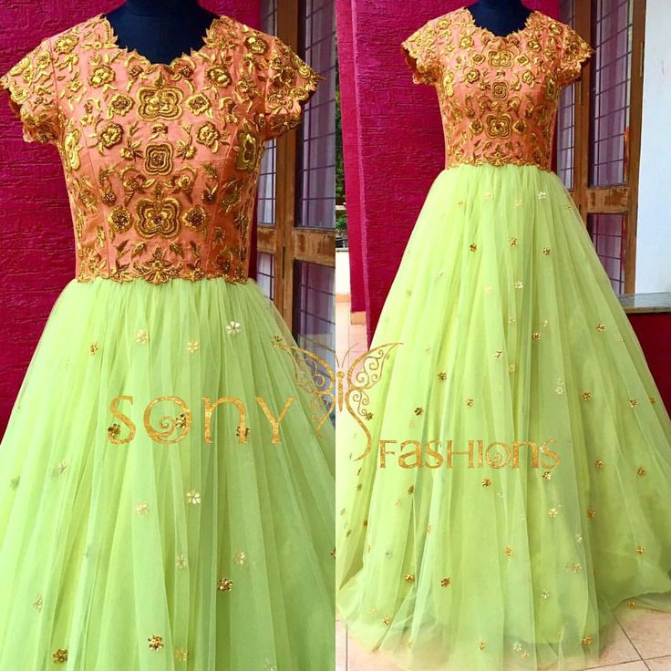 Beautiful green pastel gown from Sony fashions.There is a princess inside all of Us.For more info:-Mail us at:-sonyreddy24@gmail.comCall or WhatsApp:-8008100985  19 May 2017