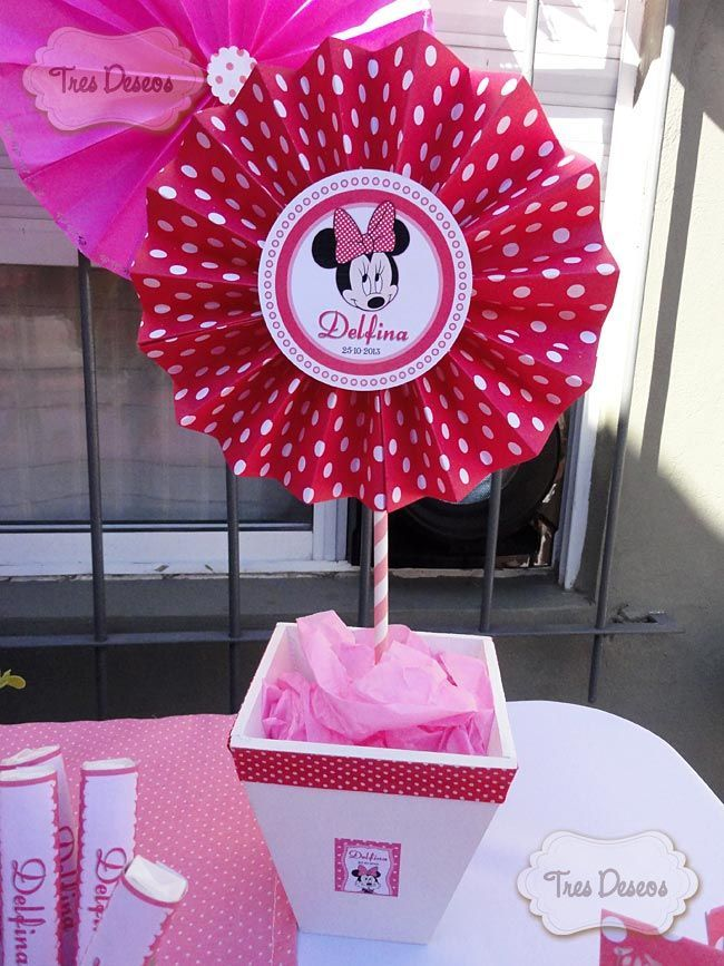 Centro de Mesa, Minnie Mouse! | Decoracion de michey mouse | Pinterest