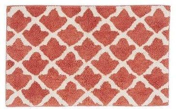 "Pottery Barn. Marlo Jacquard Bath Rug, 21 x 34"", Coral traditional bath mats"