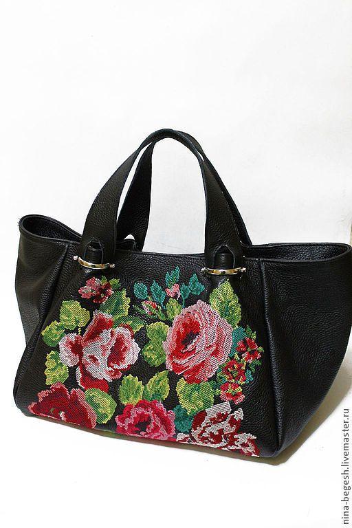 """Купить Кожаная сумка с вышивкой """"Винтажные розы"""" - чёрный, цветочный, розы, вышивка, Вышивка крестом"""
