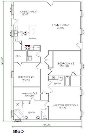 barndominium cost 3 bedroom 2 bathroom 35x60