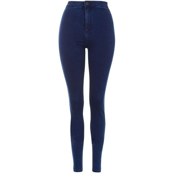 "Topshop Tall 36"""" Hold Power Joni Jeans ($59) ❤ liked on Polyvore featuring jeans, indigo, high waisted blue jeans, high rise jeans, topshop jeans, indigo jeans and tall jeans"
