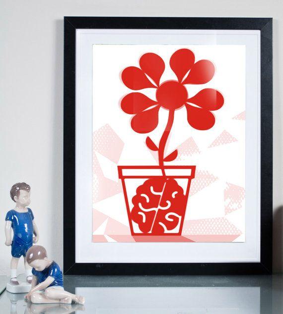 growing brain ... Illustration art giclée print by Tomek Wawer #poster #pot #red